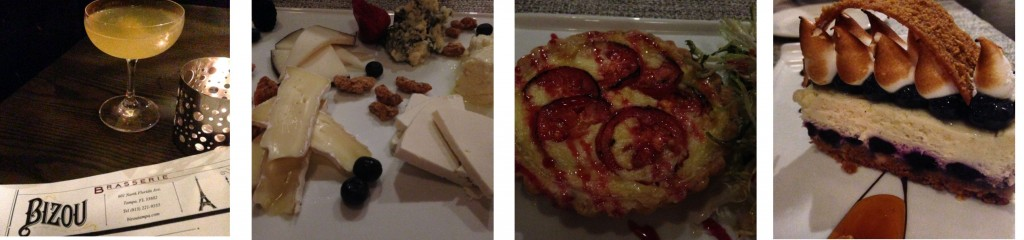 Bizou: Cat's Meow, cheese plate, Lavender Cheese Tart and Blueberry Cheesecake.
