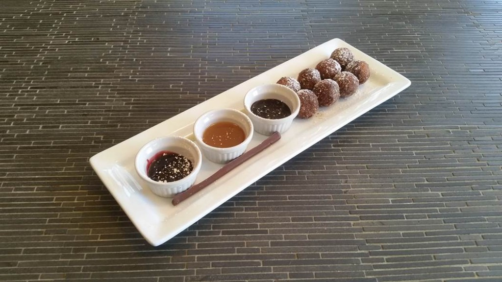 Dip sum doughnuts with chocolate chopsticks at Bardo in Norfolk, Va.